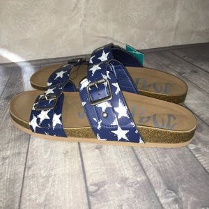 Mad love navy stars sandals slip ons